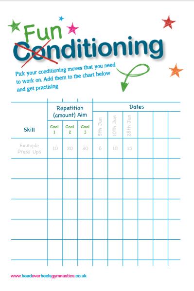 Funditioning Gymnastics Conditioning Worksheet